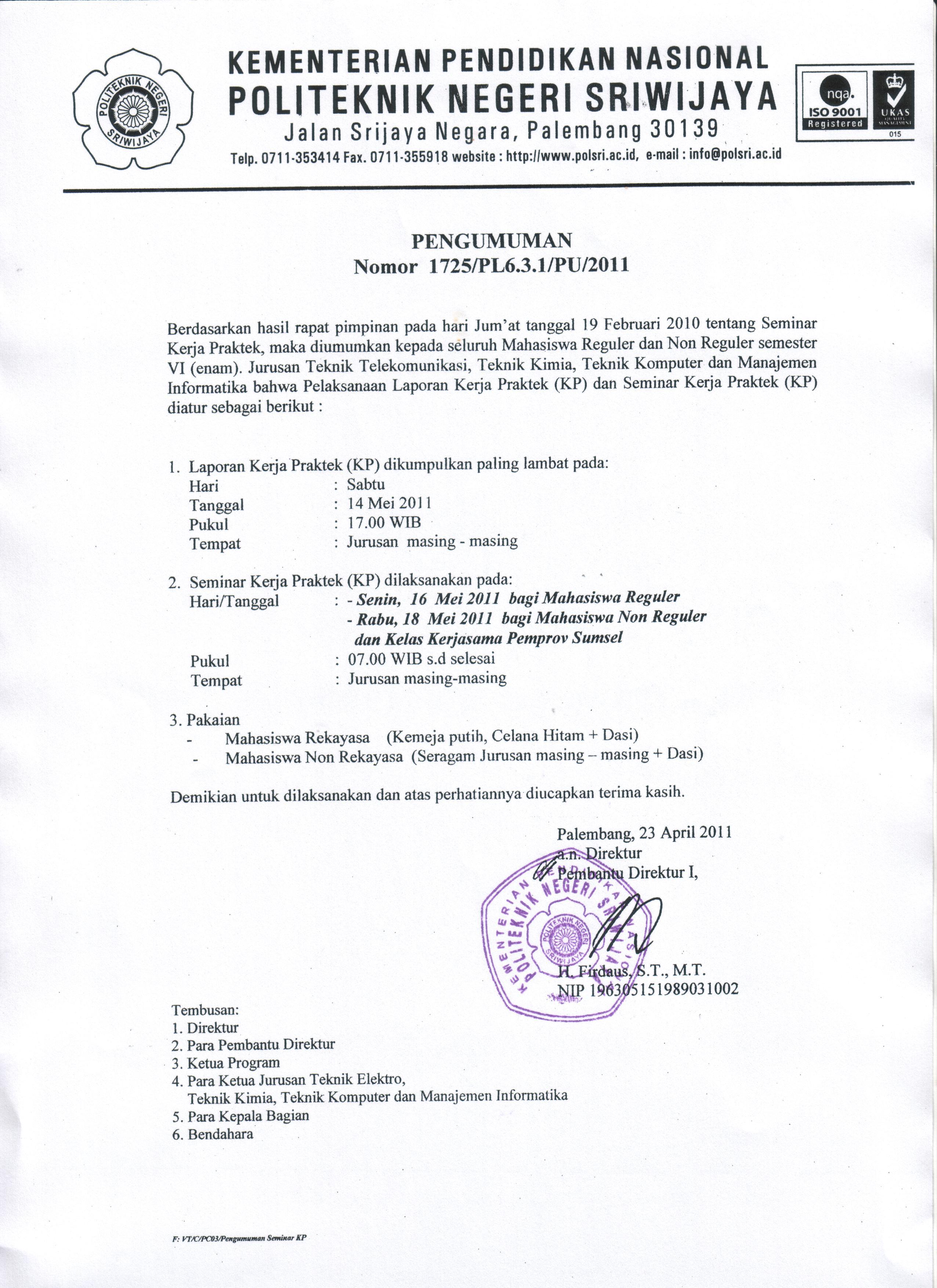 Pengumuman Pelaksanaan Laporan Kerja Praktek (KP) dan